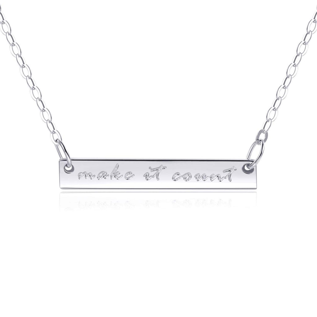 "Bar Necklace [""Make it Count"" ENGRAVED]"