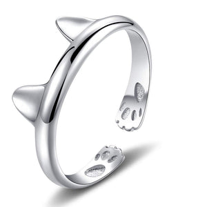 "Kitty Cat ""Perky Ears"" [.925 Sterling Silver] - ADJUSTABLE Ring"