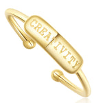 "Stackable Rings - ENGRAVED ""Creativity"" - 18k Gold Plated - Adjustable"