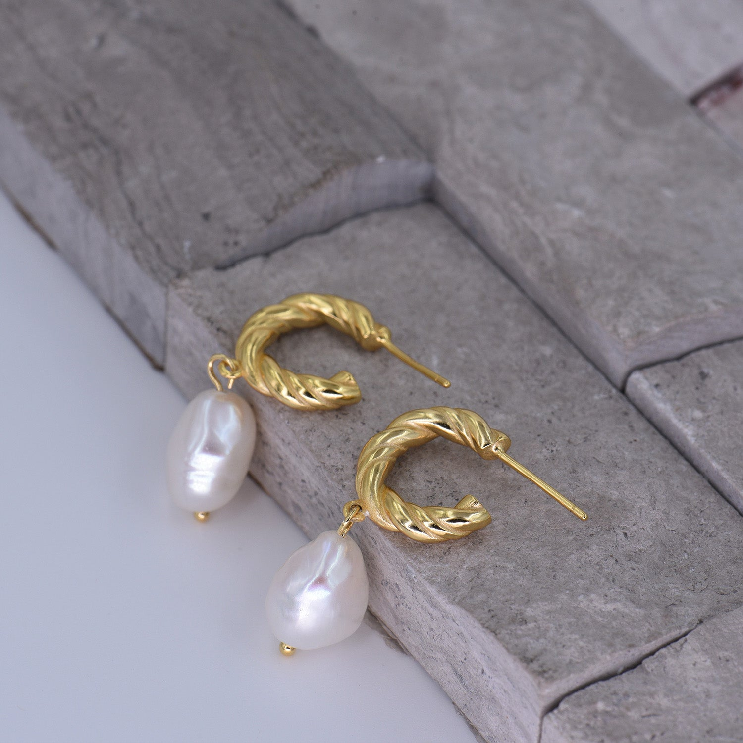 Baroque Pearl Earrings [18K Gold Plated - .925 Sterling Silver]