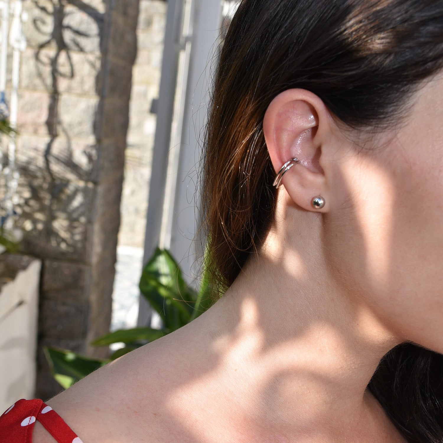 Silver Ear Cuff [Dual Double Band] - .925 Sterling - Cartilage Wrap Earring