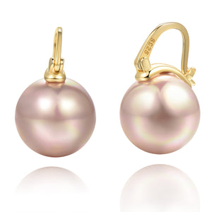 Big Pearl Dangle Earrings [18K Gold Plated - .925 Sterling Silver]