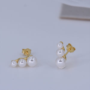 Pearl Stud Earrings [3-Size Cascade] .925 Sterling Silver w/ 18K Gold Plating