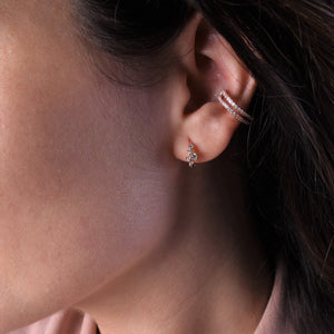 CZ Earrings [Mini Drop Hoop] Huggies [18K Rose Gold Plated - .925 Sterling Silver]