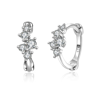 CZ Drop Huggies [Mini Hoop] Earrings [.925 Sterling Silver] - Cubic Zirconia