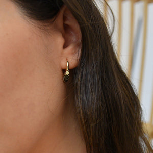 Coin Cluster Drop Mini Hoop Earrings [.925 Sterling Silver Plated w/ 18K Gold]