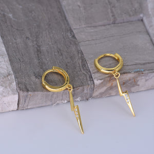 Huggie Hoop Earrings [Lightning Bolt CZ Drop Loops] [.925 Sterling Silver w/ 18K Gold]