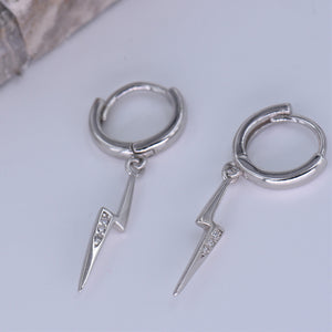Huggie Hoop Earrings [Lightning Bolt CZ Drop Loops] Mini Dangle [.925 Sterling Silver]