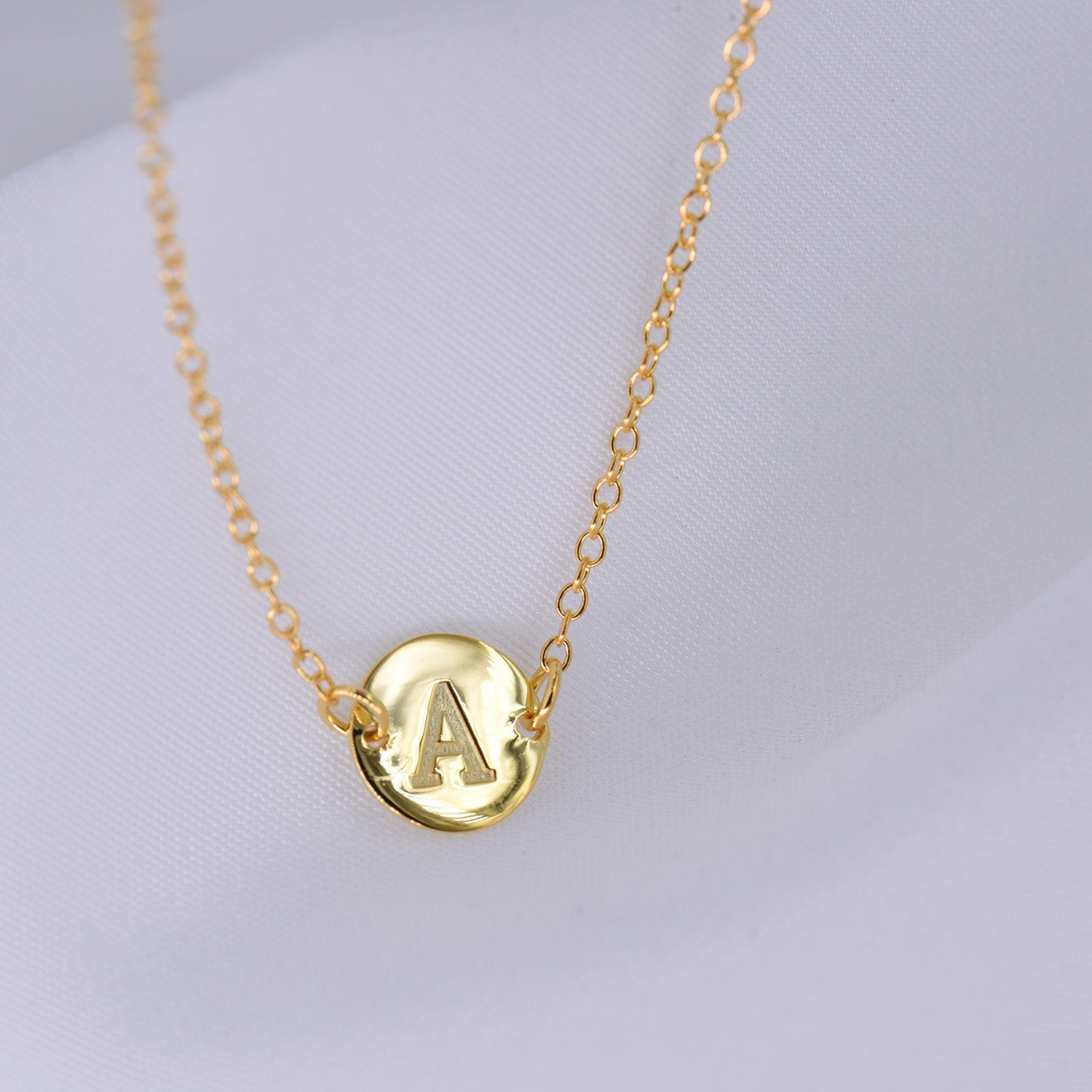 Gold Coin Initial Necklace [ Letter A ] - .925 Sterling Silver [18K Gold Plated] - [14 Inch]
