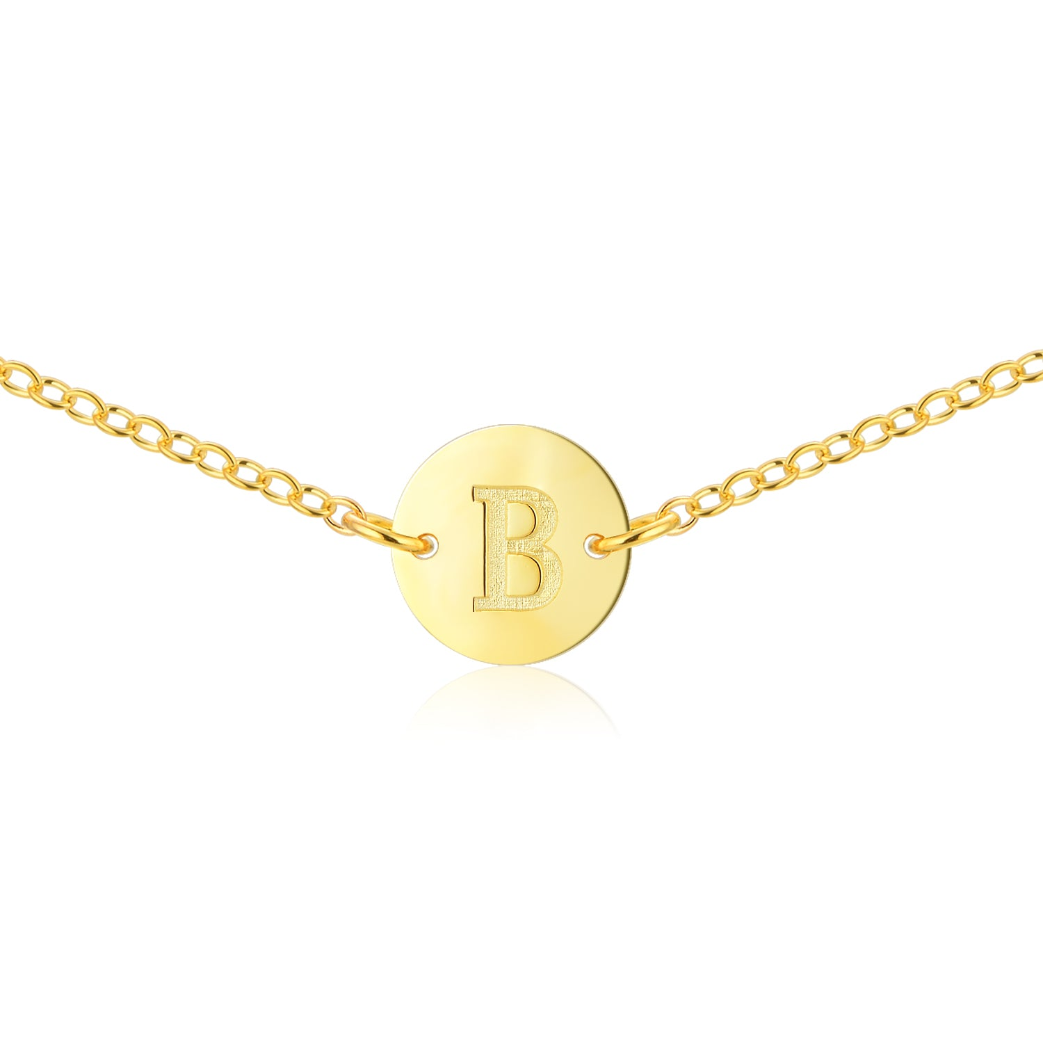 Gold Initial Necklace [ Letter B ] - .925 Sterling Silver [18K Gold Plated] [14 Inch]