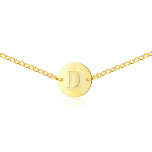Gold Monogram Necklace [ Letter D ] - .925 Sterling Silver [18K Gold Plated] Chain [14 Inch]