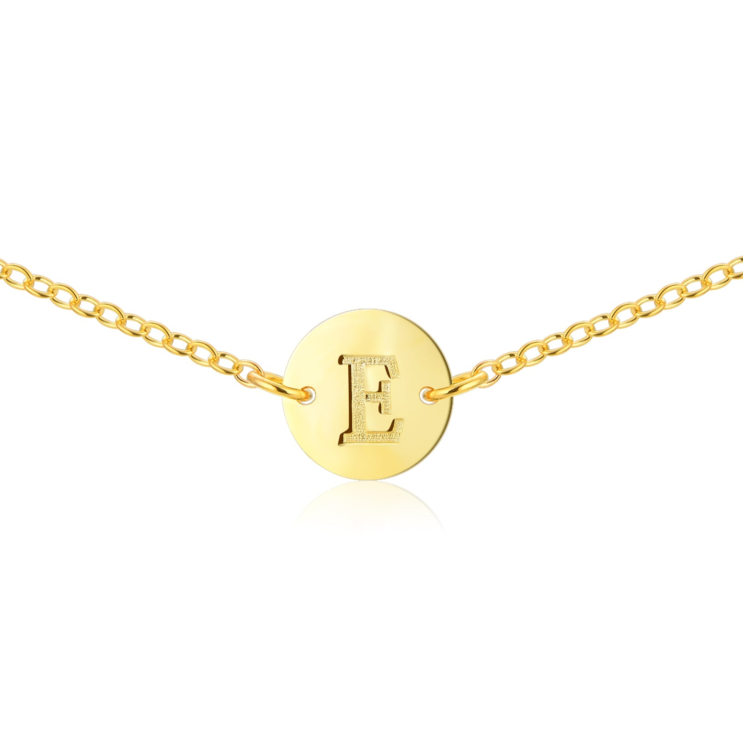 Gold Coin Initial Necklace [ Letter E ] - .925 Sterling Silver [18K Gold Plated] - [14 Inch]