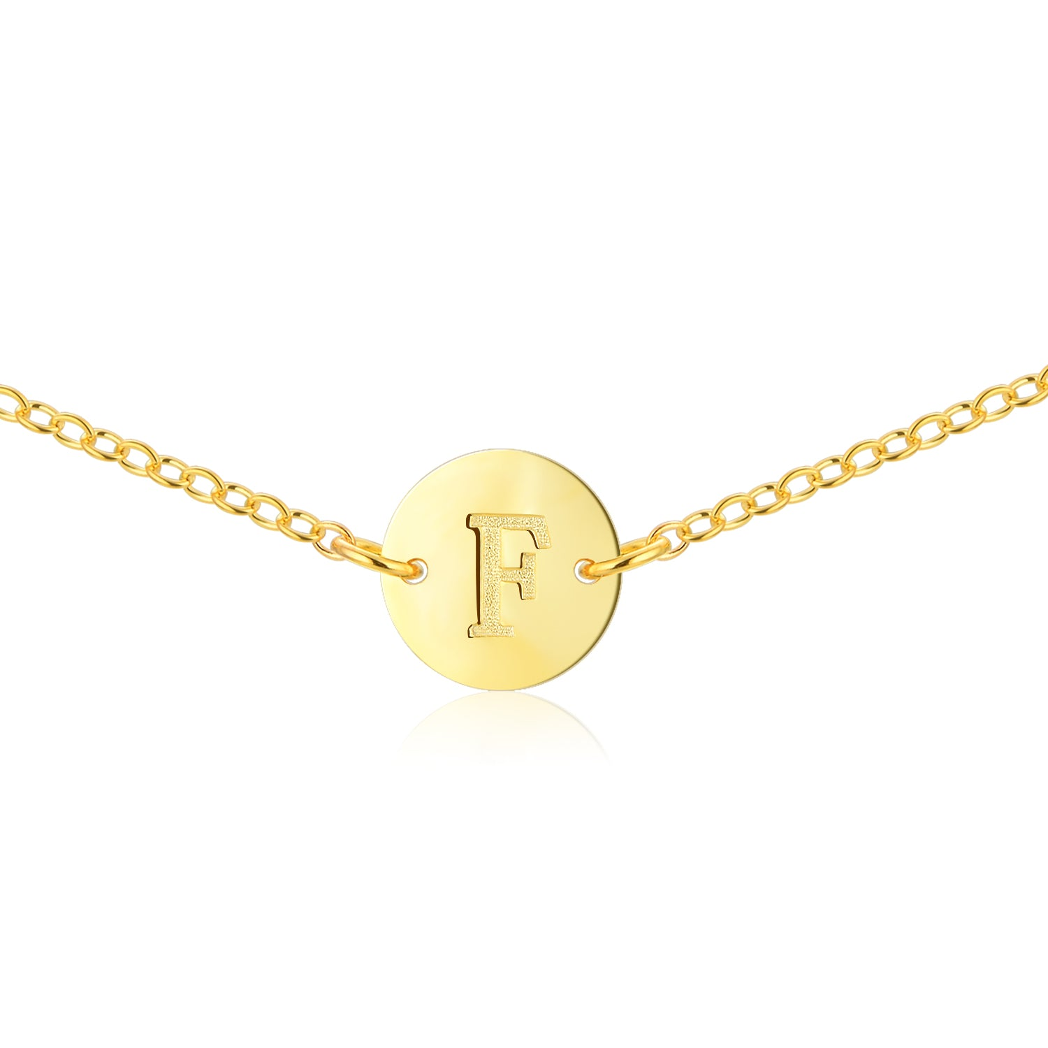 Gold Coin Initial Necklace [ Letter F ] - .925 Sterling Silver [18K Gold Plated] - [14 Inch]