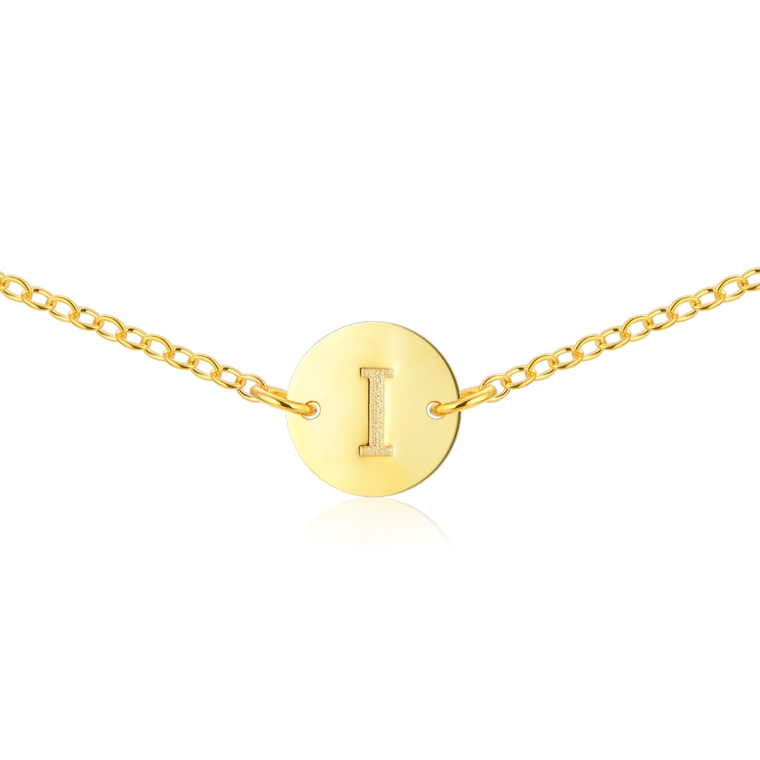 Round Gold Initial Necklace [ Letter I ] - .925 Sterling Silver [18K Gold Plated] Chain