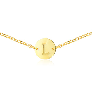 Monogrammed Initial Necklace [ Letter L ] - .925 Sterling Silver [18K Gold Plated] - [14 Inch]