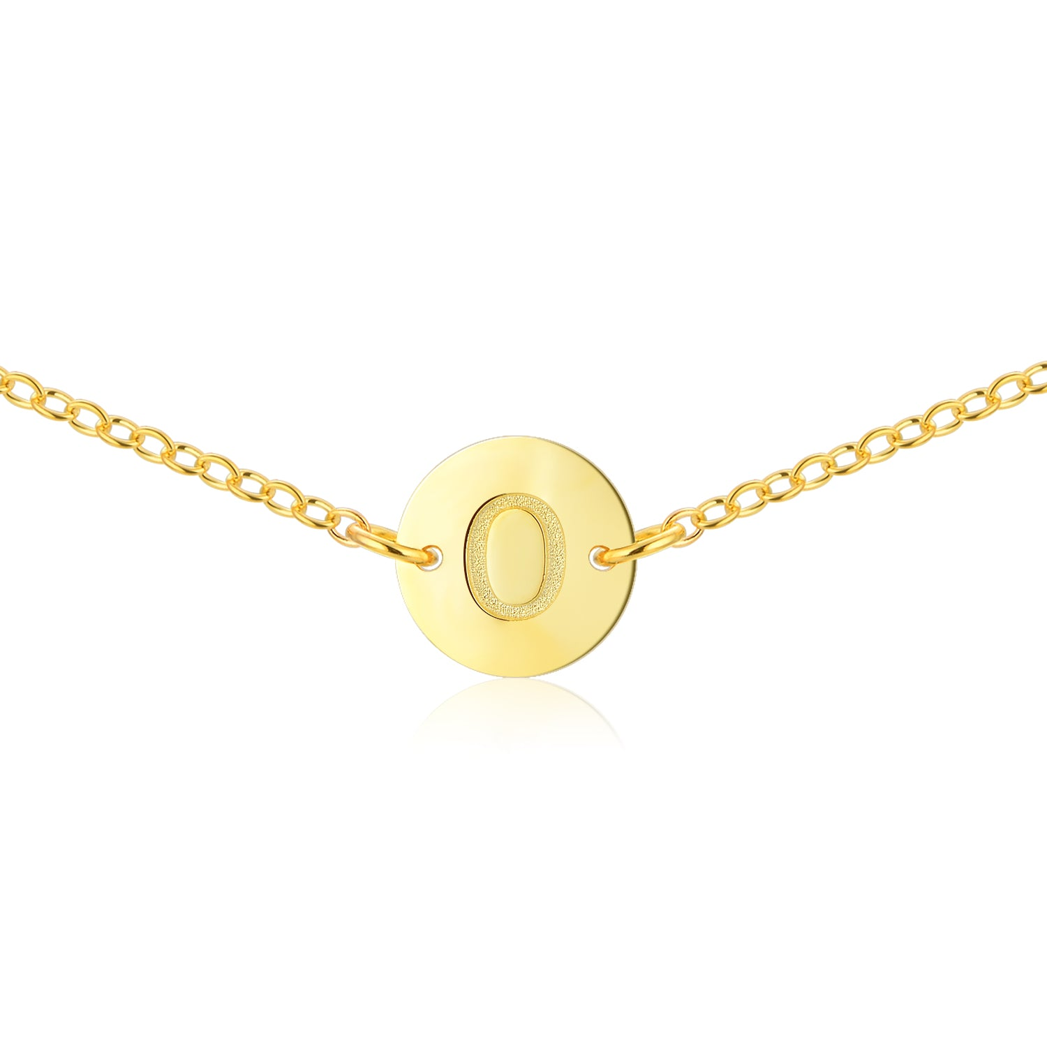 Circular Initial Necklace [ Letter O ] - .925 Sterling Silver [18K Gold Plated] [14 Inch]