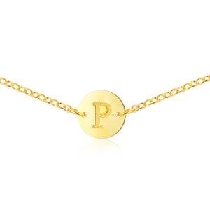 Short Initial Necklace [ Letter P ] - .925 Sterling Silver [18K Gold Plated]