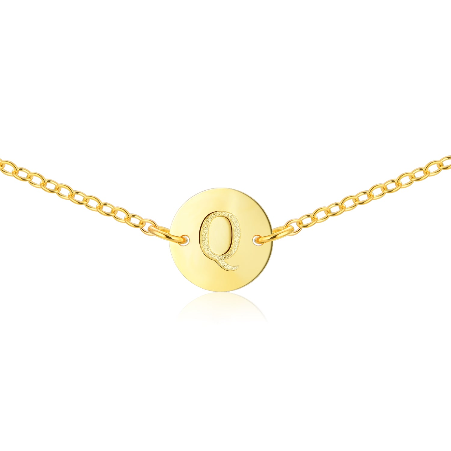 Gold Coin Initial Necklace [ Letter Q ] - .925 Sterling Silver [18K Gold Plated] - [14 Inch]