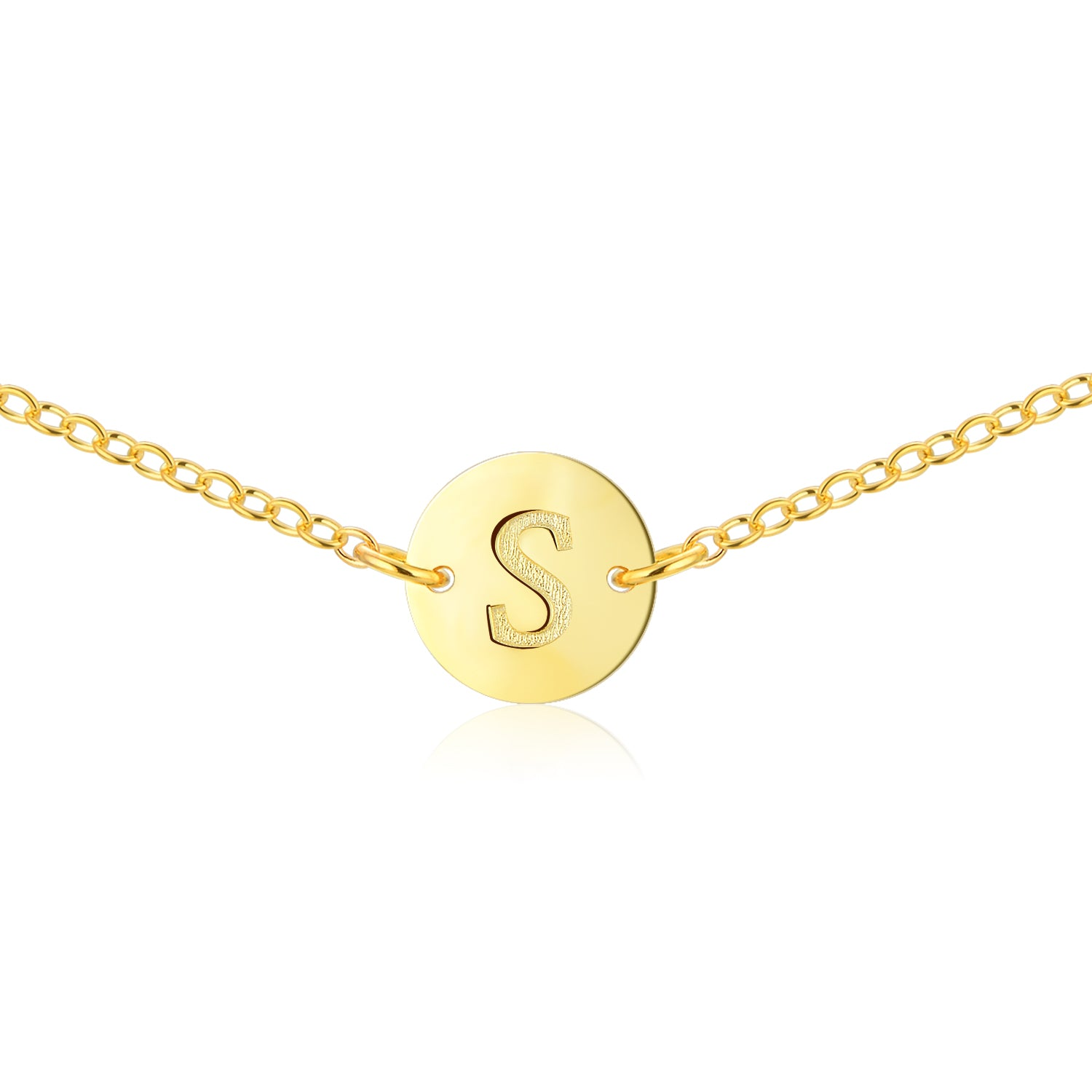 Gold Coin Initial Necklace [ Letter S ] - .925 Sterling Silver [18K Gold Plated] - [14 Inch]
