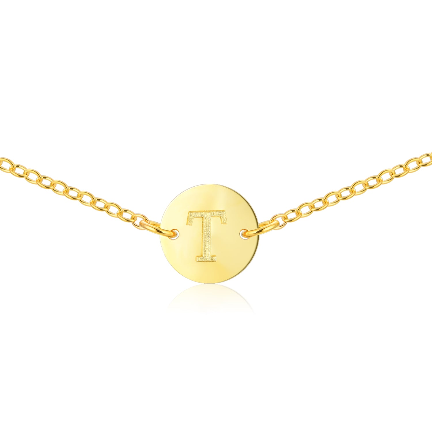 Gold Coin Initial Necklace [ Letter T ] - .925 Sterling Silver [18K Gold Plated] - [14 Inch]