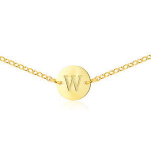 Gold Coin Initial Necklace [ Letter W ] - .925 Sterling [18K Gold Plated] Layer Chain [14 Inch]