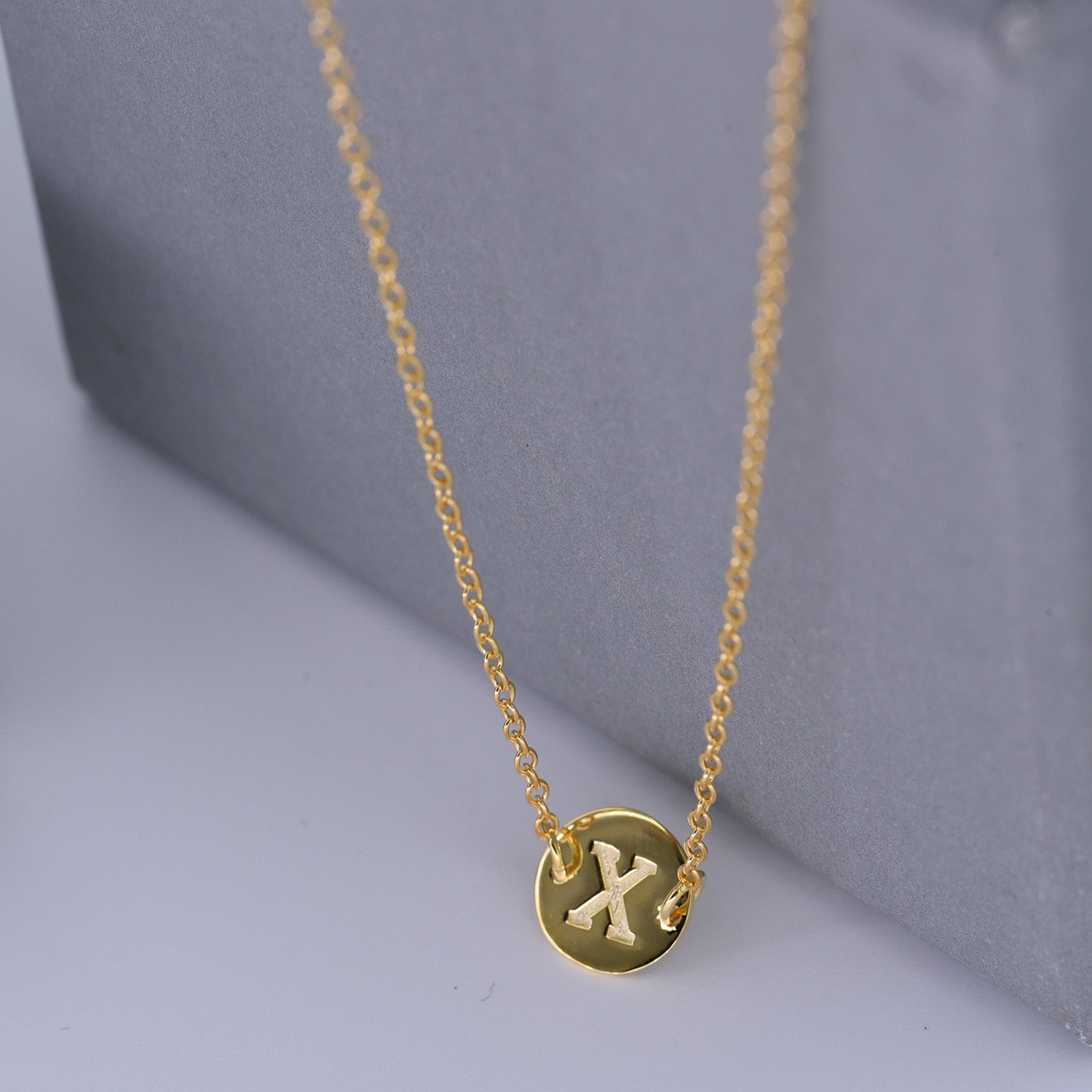 Gold Coin Initial Necklace [ Letter X ] - .925 Silver [18K Gold Plated] Dainty Disc [14 Inch]