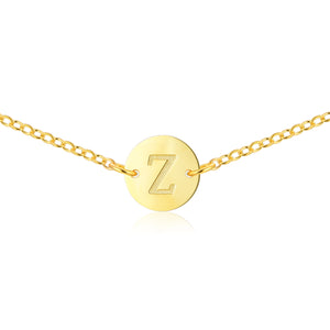Gold Coin Initial Necklace [ Letter Z ]  - .925 Sterling Silver [18K Gold Plated] - Chain [14 Inch]