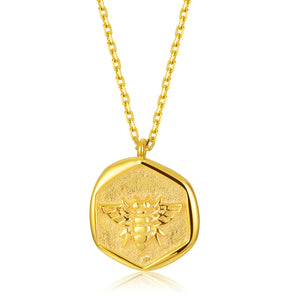 "Gold Coin Necklace [18K Plated On .925 Sterling Silver] ""Sweet Honey Bee"" Charm Pendant"