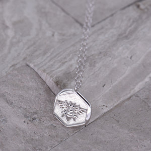 "Silver Coin Necklace [Sterling .925] ""Sweet Honey Bee"" Charm Pendant"