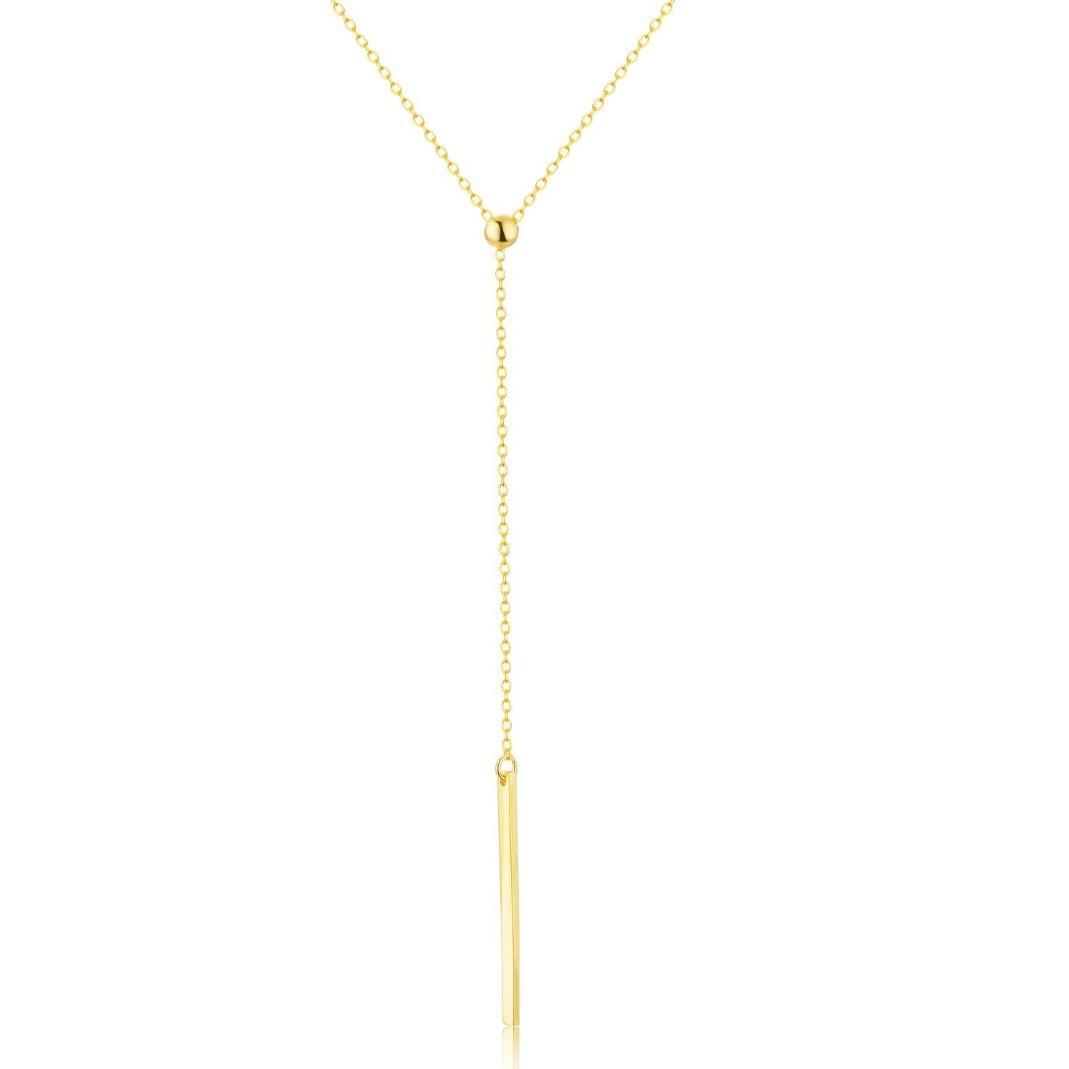 Lariat Vertial Bar Necklace [.925 Sterling Silver w/ 18K Gold Plating] Minimalist Style