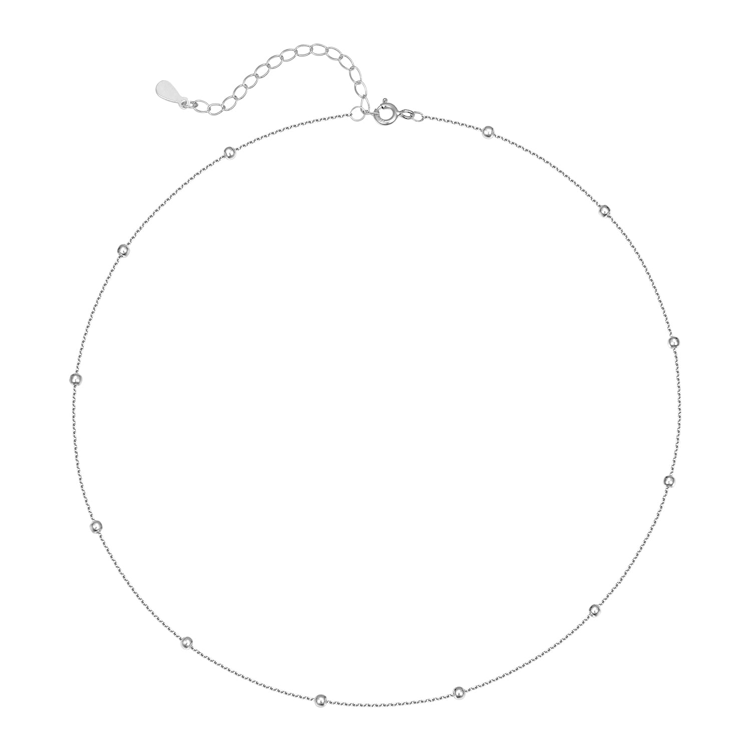 Satellite Bead Choker Necklace - [.925 Sterling Silver] - Perfect for layering.