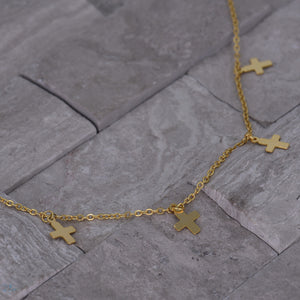Cross Choker Necklace - Layer Chain - [.925 Sterling Silver - 18K Gold Plated]