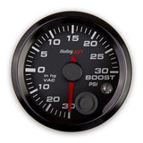 2-1/16 VACUUM/BOOST GAUGE, 30INHG-30PSI, CAN,BLACK