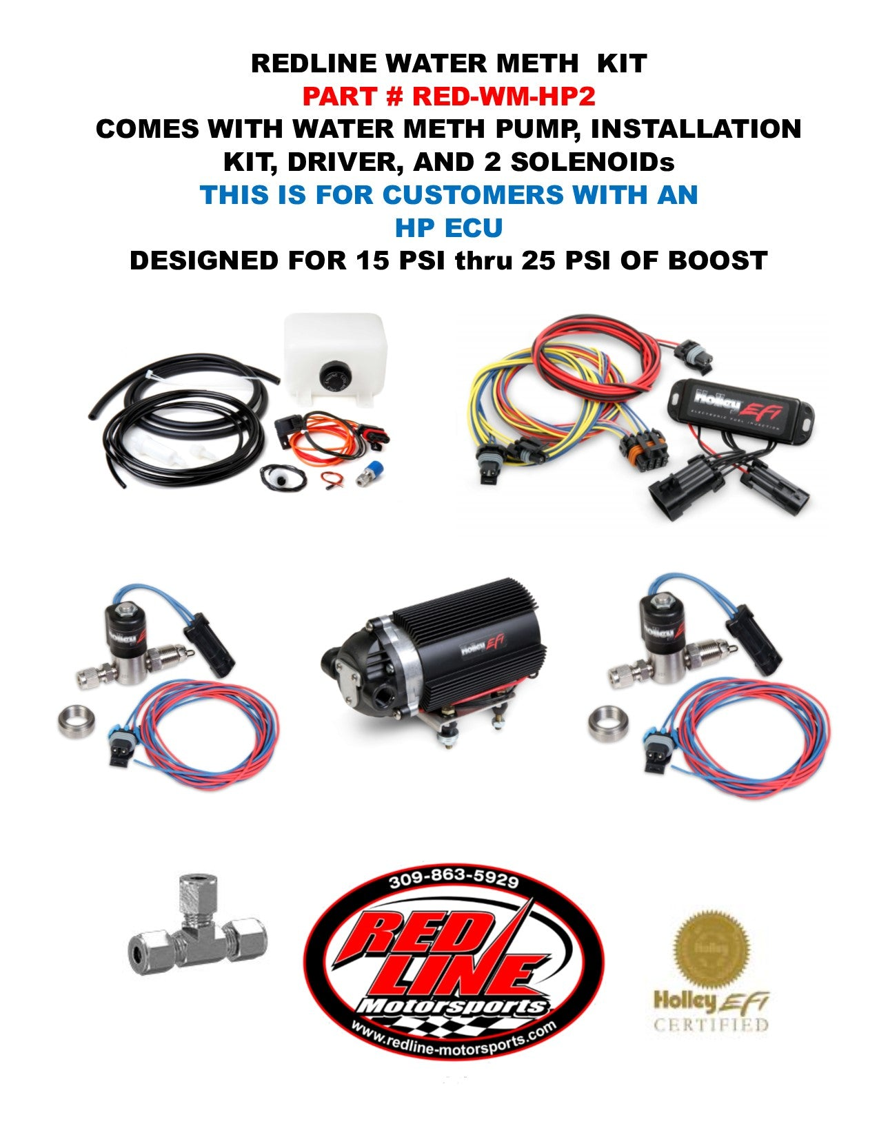 REDLINE WATER/METH KIT FOR HOLLEY HP COMPUTERS WITH 2 SOLENOIDS (15 PSI TO 25 PSI)