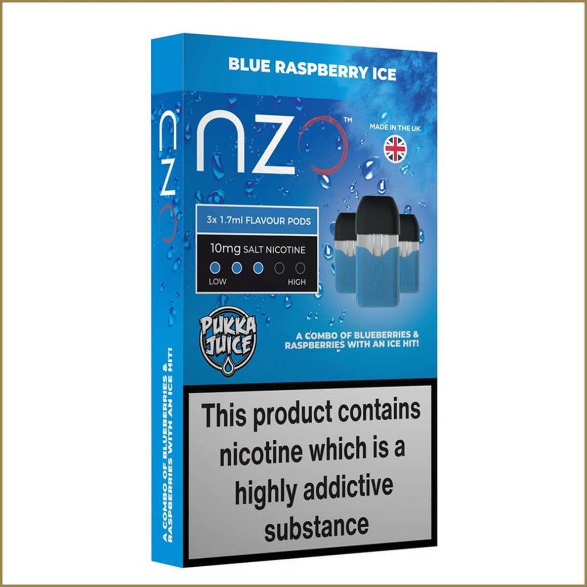 nzo Pukka Juice blue raspberry ice pods 3 pack