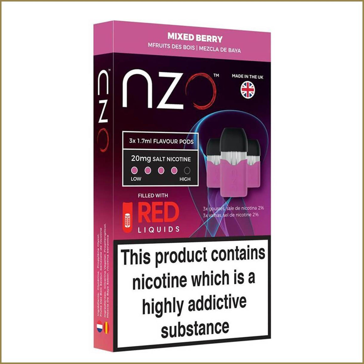 nzo RED Liquids mixed berry pods 3 pack