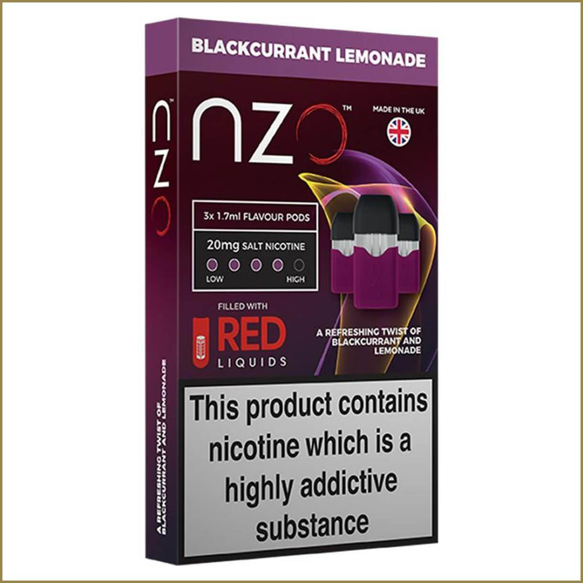 nzo RED Liquids blackcurrant lemonade pods 3 pack