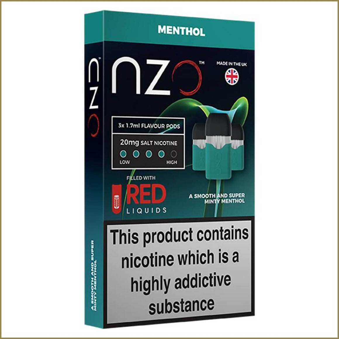 nzo RED Liquids menthol pods 3 pack
