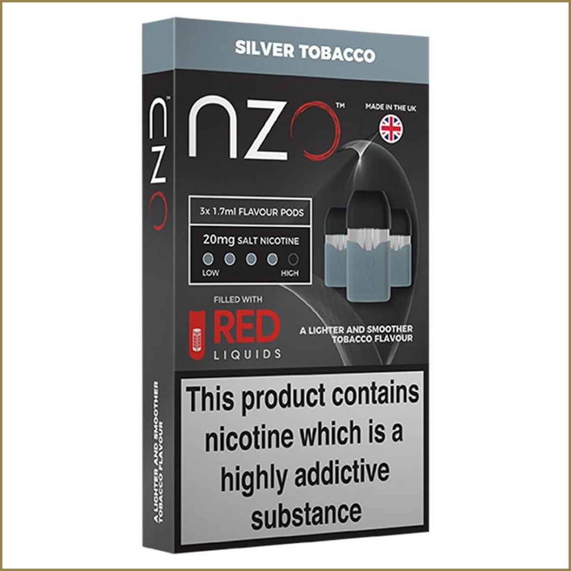 nzo RED Liquids silver tobacco pods 3 pack