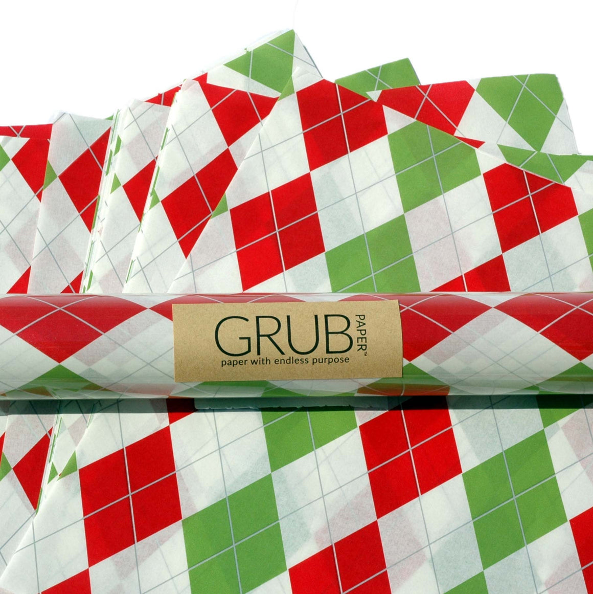 GRUB Paper  - Red & Green Argyle