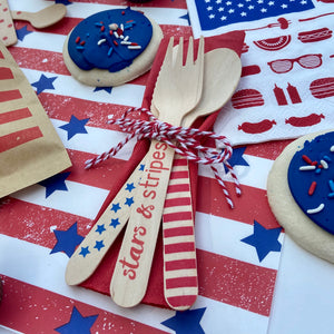 Birch Utensil Set - Stars & Stripes