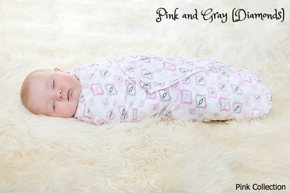 Pink and Gray Diamond Swaddle from the Pink Collection