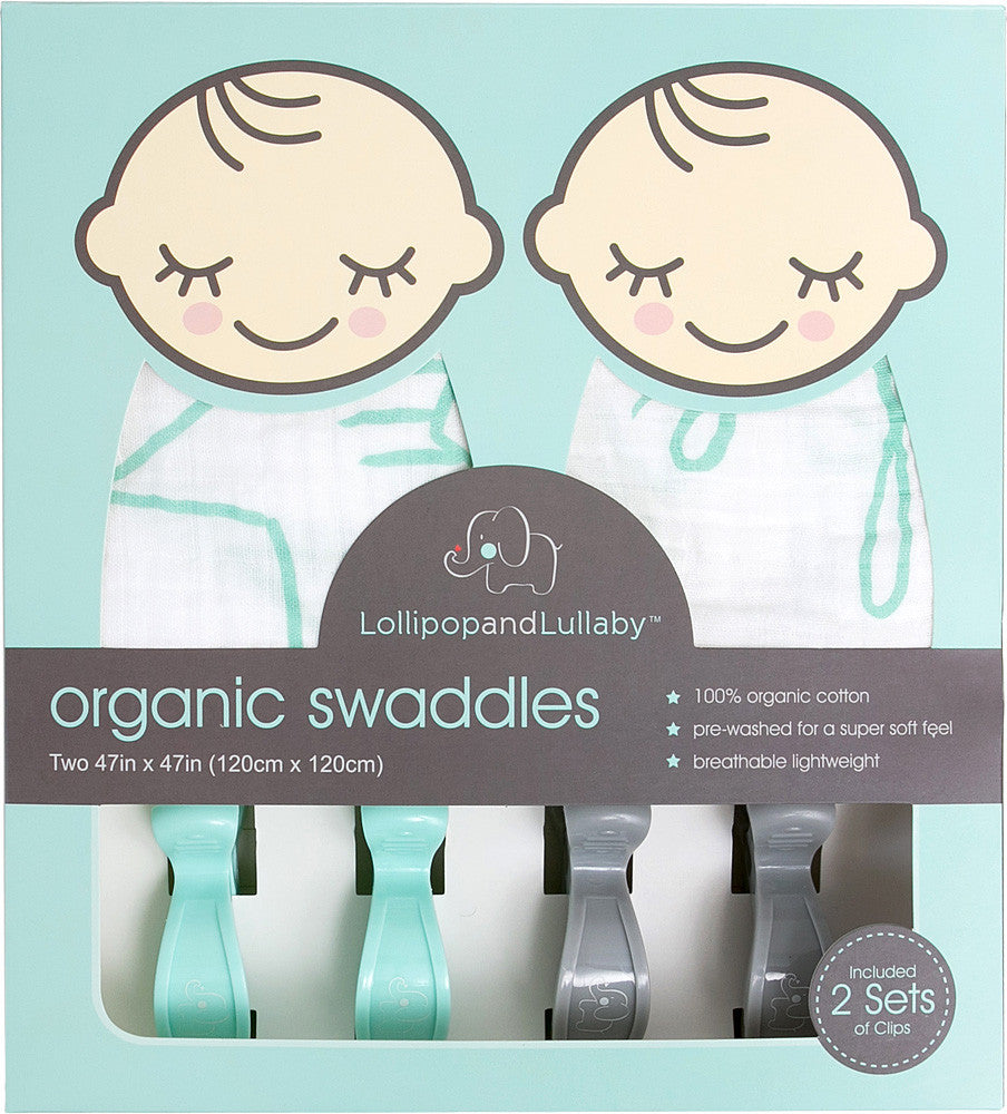 100% Organic Cotton Swaddles - Blue Collection