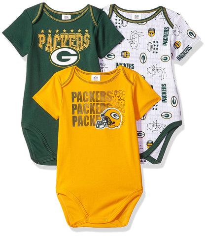 Green Bay Packers Baby Boys Short Sleeve Bodysuit, 3-Pack