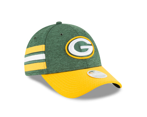new era,green bay packers,9forty,940,on field,sidelines,2018,home,baseball cap,hat,stretch fit,headwear,clothing accessories