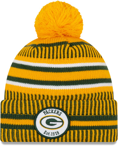 Green Bay Packers 2019 Sideline Home Reverse Pom Knit Hat