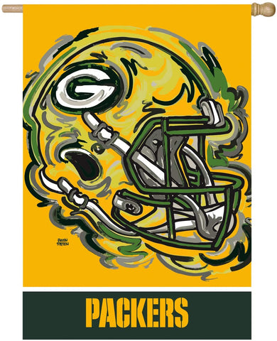 "Green Bay Packers 29"" x 43"" 2-Sided Suede Flag, REG Justin Patten"