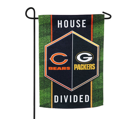 "Green Bay Packers Vs. Chicago Bears 13"" x 18"" House Divided Flag"