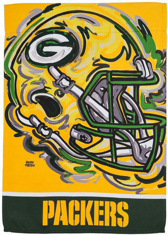 "Green Bay Packers 12.5"" x 18"" Suede Flag, GDN Justin Patten"