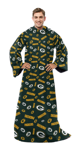 Green Bay Packers Plush Comfy Throw Blanket with Sleeves, Adult Size